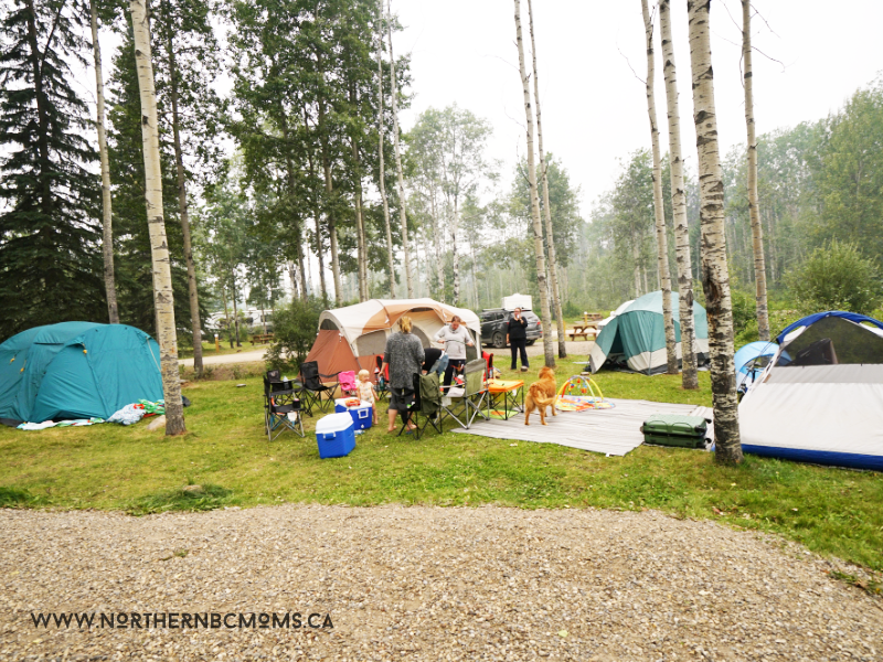 Camping in Tumbler Ridge, making a family campsite at Lions Campground with two sites