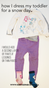 how I dress my toddler for a snow day - regular clothes layer
