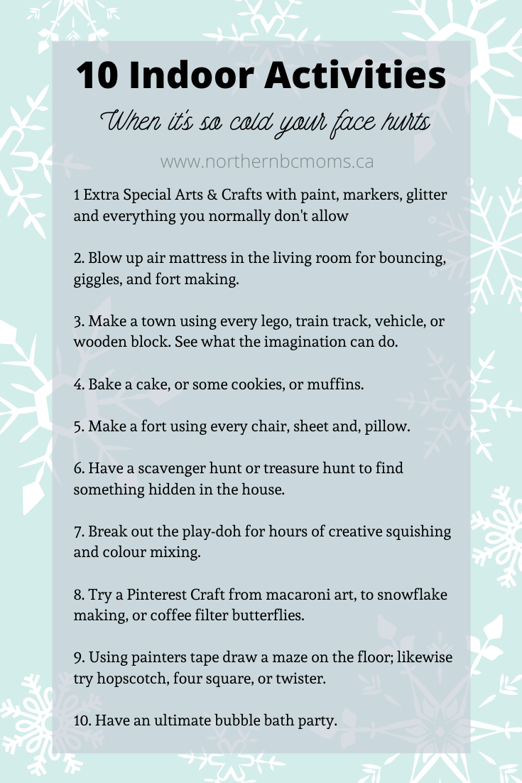 10 Indoor Activities for a cold day with toddlers
